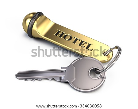 Hotel key Isolated On White - stock photo