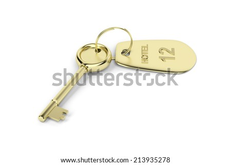 Hotel key with a room number on white background - stock photo