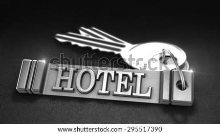 Hotel keys Concept. Keys with Keyring. 3D rendering - stock photo