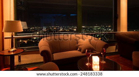 hotel lobby at night - stock photo