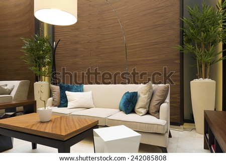 Hotel lobby cafe interior - stock photo