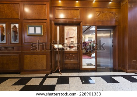 Hotel lobby with elevator