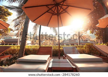 hotel lounges palm landscape - stock photo
