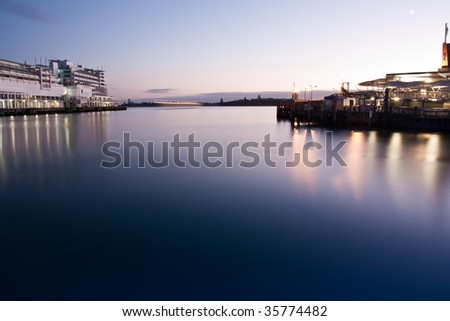 Hotel on Auckland Harbour, New Zealand, at first light.