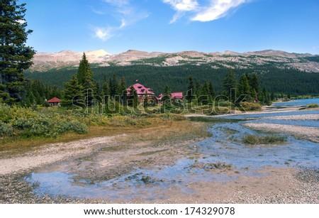 Hotel on the Bow Lake , Banff National Park, Alberta, Canada - stock photo