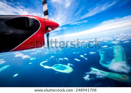 Hotel on the island bird's-eye view. Maldives Indian Ocean - stock photo