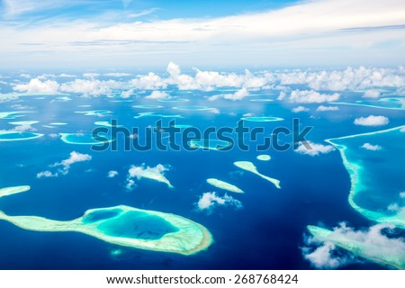 Hotel on the island. Maldives Indian Ocean - stock photo