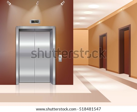 Hotel or office building hall with closed elevator door realistic  illustration
