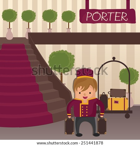 Hotel porter in a hotel lobby with staircase - stock photo