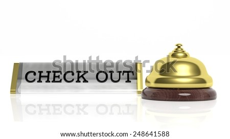 Hotel reception bell and Check out card isolated on white - stock photo