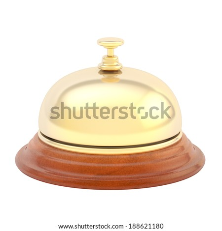 Hotel reception bell made of wood and golden metal, isolated over the white background