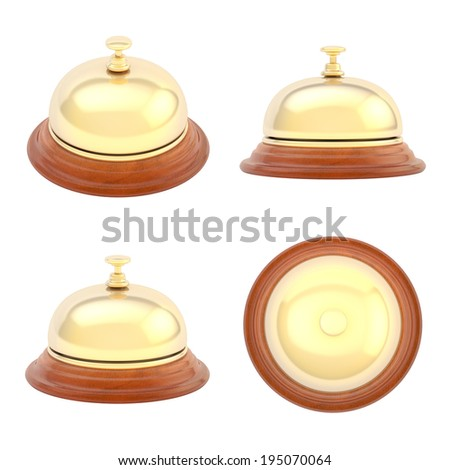 Hotel reception bell made of wood and golden metal, isolated over the white background, set of four foreshortenings - stock photo