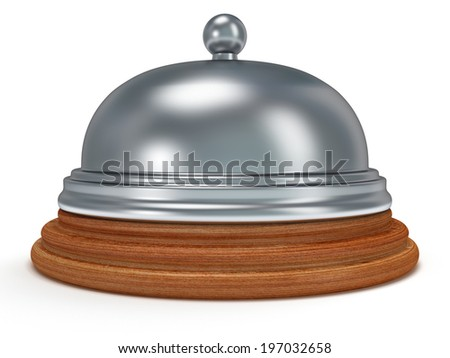 Hotel reception bell with metal body on wooden base. 3d render. Vacation, travel, service concept. - stock photo