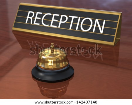 Hotel reception counter with service bell