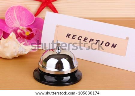 Hotel reception isolated on white - stock photo