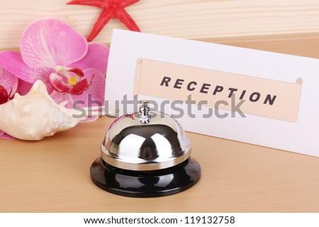 Hotel reception isolated on white - stock photo