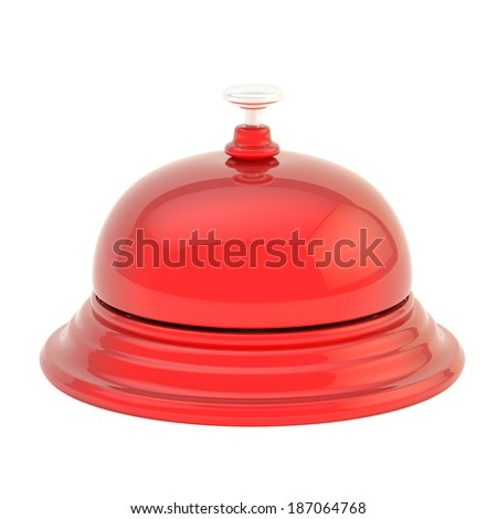 Hotel reception red glossy bell isolated over the white background - stock photo