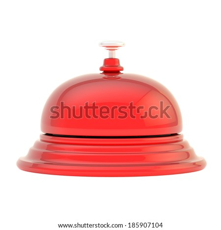 Hotel reception red glossy bell isolated over the white background, side view - stock photo