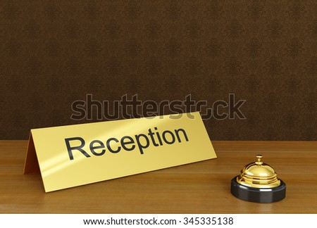 Hotel reception with bell ring