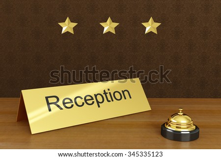 Hotel reception with bell ring. With 3 stars