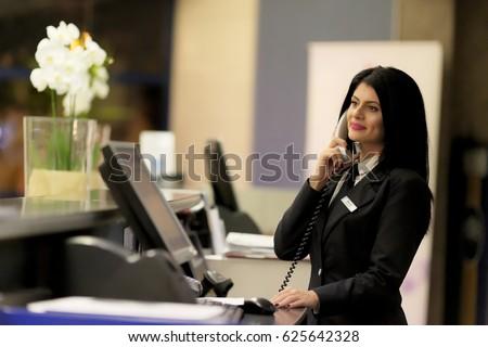 Hotel Receptionist Modern Luxury Hotel Reception Stock Photo ...