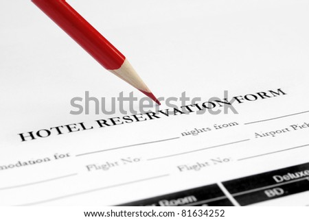 Hotel reservation form - stock photo