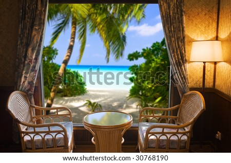 Hotel room and landscape - vacation concept background - stock photo