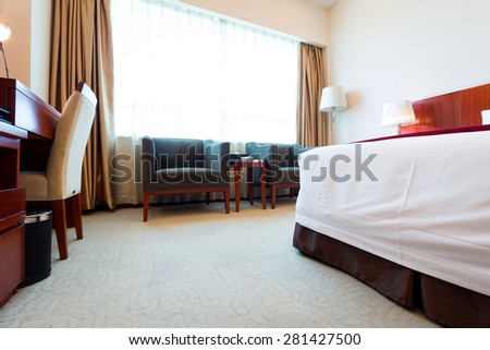 Hotel room bed