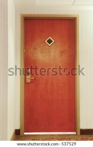 Hotel room door - stock photo