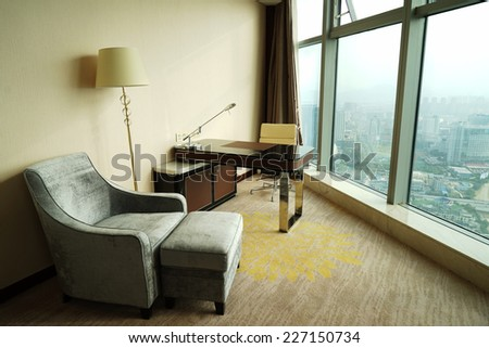 Hotel room interior with business icon. - stock photo