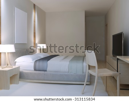 Hotel room minimalist style. Spacious room with dressed lether double bed, cozy table with chair near to window and white nylon carpet. 3D render
