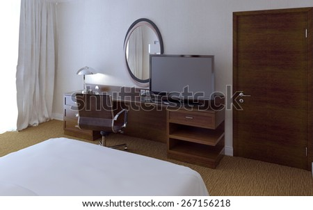 Hotel room modern style, 3d render - stock photo