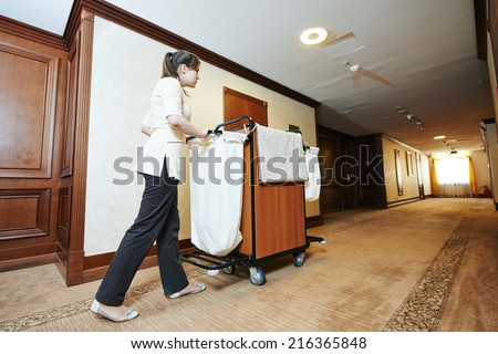 Hotel housekeeping stock images royalty free images for Hotel room service cart