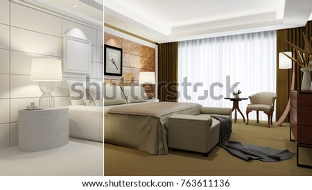 Hotel Room Elegant Interior Design CAD Stock Illustration 763611136