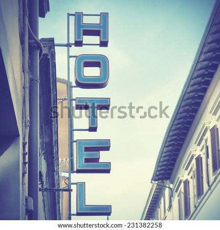Hotel sign.  Instagram style filtred image - stock photo