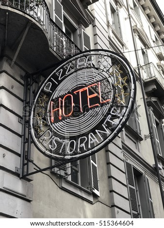 Hotel sign on a building facade
