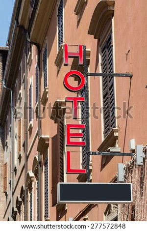 hotel sign visible from the street - stock photo