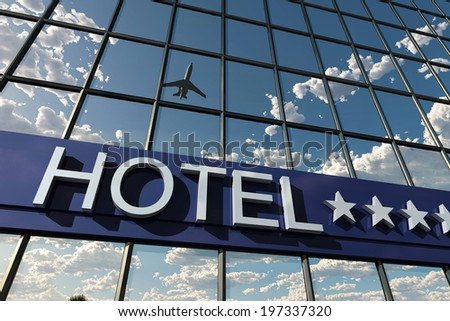 hotel sign with stars - stock photo