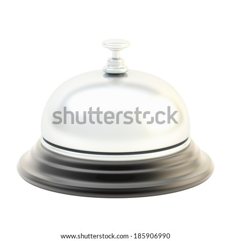 Hotel silver reception bell isolated over the white background - stock photo