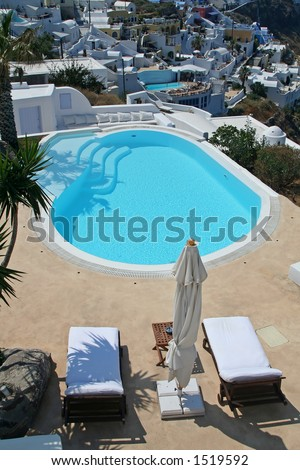 Hotel swimming pool at Santorini Island, Greece