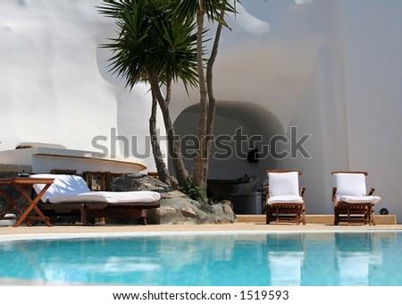 Hotel swimming pool at Santorini Island, Greece - stock photo
