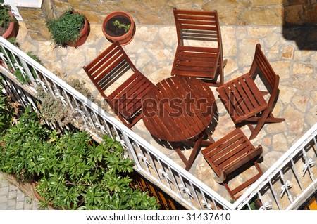 hotel terrace - stock photo