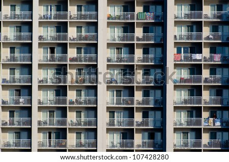 Hotel windows and balconies viewed from the ocean in Ocean City, Maryland.