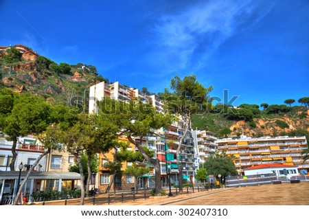 Hotels and resorts in the coast of Blanes in Costa Brava, Spain - stock photo