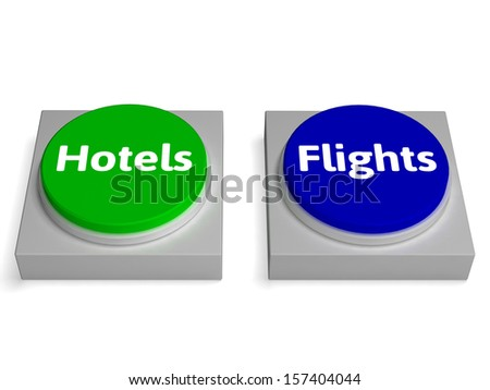 Hotels Flights Buttons Showing Accomodation Or Flight - stock photo