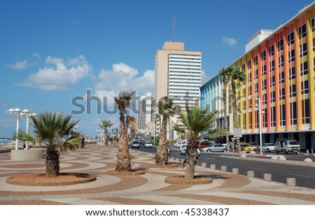 Hotels on the Tel-Avive seafront - stock photo