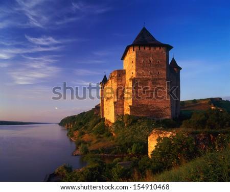Hotinskaya fortress (Ukrainian Hotinska Fortress; - Fortress X-XVIII centuries, situated in the city of Chernivtsi, Ukraine. One of the seven wonders of the stone fortifications Ukrainy.  Galitsky.  - stock photo