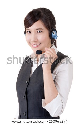 Hotline, closeup portrait of Asian business woman on studio white background. - stock photo
