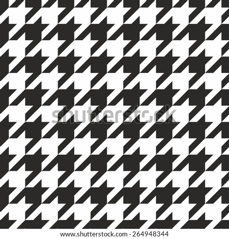 Houndstooth tile black and white pattern or seamless background wallpaper - stock photo