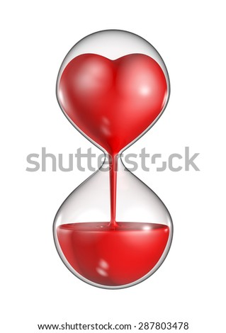 Hour glass heart - stock photo